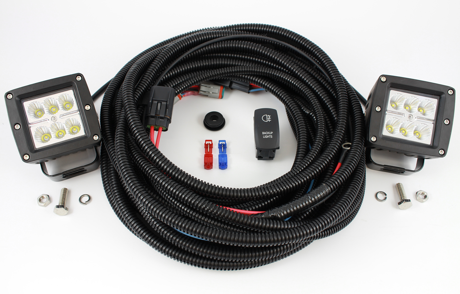 Complete Truck Suv Backup Reverse Lighting Kit With Rigid Addition Trailer Wiring Harness Adapter On Car Starkey Auxiliary Fits All